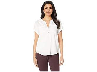 Lucky Brand Women's Mix Media Short Sleeve Henley Shirt