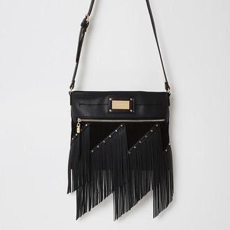 River Island Black fringe studded cross body messenger bag