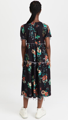 R 13 Shredded Relaxed Midi Dress