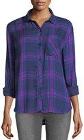 Rails Hunter Button-Front Long-Sleeve Plaid Shirt, Navy Ultraviolet