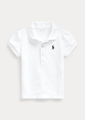 Ralph Lauren Puff-Sleeve Mesh Polo Shirt