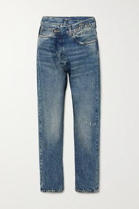 R 13 Crossover Asymmetric Distressed Boyfriend Jeans