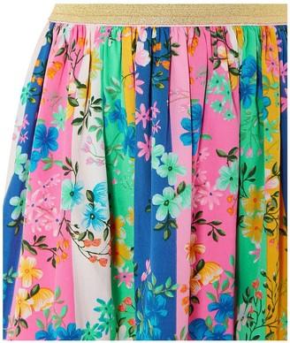 Monsoon Girls S.E.W. Stripe Floral Skirt - Multi