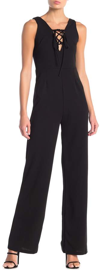 Blvd Crisscross Neck Sleeveless Wide Leg Jumpsuit