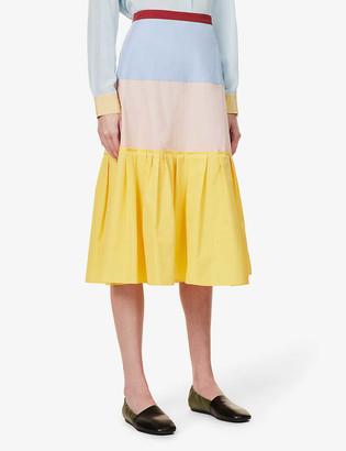 Ports 1961 Colour-block high-waist cotton-poplin maxi skirt