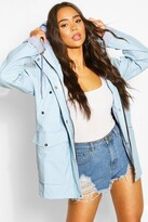 Thumbnail for your product : boohoo Coated Pocket Detail Hood Mac