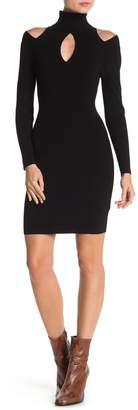 A.L.C. Cutout Long Sleeve Rib Knit Dress