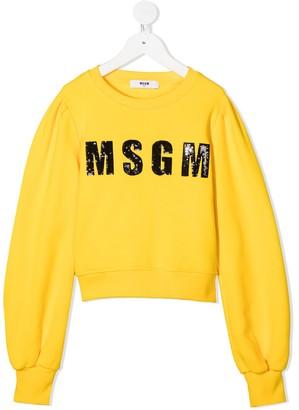 Msgm Kids Sequin Logo Sweater