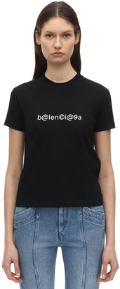 Balenciaga Fitted Symbolic Logo Jersey T-shirt