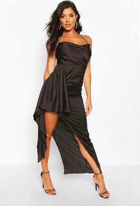 boohoo Satin Cowl Drape Maxi Dress