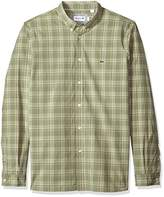 Lacoste Men's Long Sleeve Poplin Med Check Button Down Collar Slim Woven Shirt, Ch5006