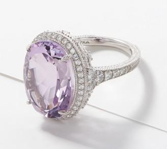 Judith Ripka Sterling Silver Gemstone & Diamonique Ring 10.20cttw