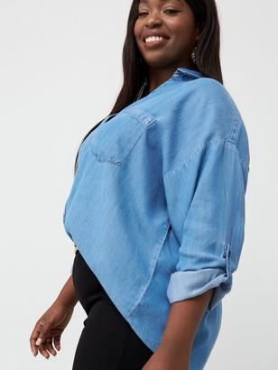 V By Very Curve Button Through Denim Shirt - Light Wash