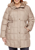 Liz Claiborne Side-Tab Puffer Jacket With Faux-Fur Collar