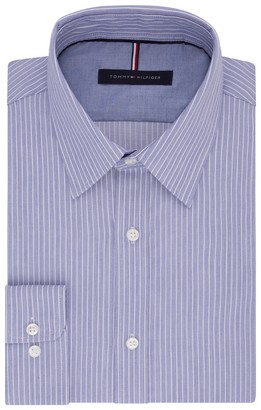 Tommy Hilfiger Men's Big and Tall Dress Shirt Slim Fit Non Iron Banker Stripe