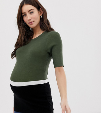 Mama Licious Mamalicious maternity colour block knitted top