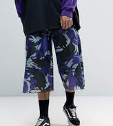 Reclaimed Vintage Inspired Wide Leg Cropped Trousers In Camo Nylon
