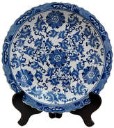 Oriental Furniture Floral Decorative Plate in Blue & White