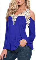YACUN Women's Summer Lace Cold Shoulder Long Sleeve T-shirt 4XL