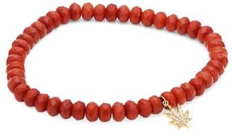 Sydney Evan 14K Gold Red Coral & Diamond Beaded Leaf Charm Bracelet