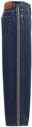 Alexander McQueen Cotton Denim Wide Leg Crop Jeans