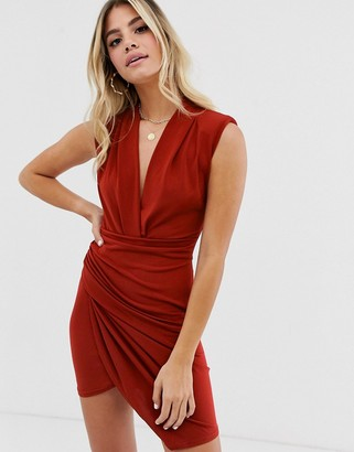 John Zack plunge front ruched mini dress in rust
