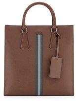 Prada Men's Large Calf Travel Tote Bag, Brown/Green/Gray