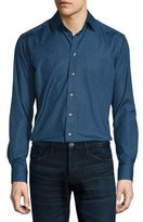 Eton Mini Floral-Print Long-Sleeve Sport Shirt, Navy