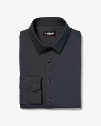 Express Slim Fit Wrinkle-Resistant Tipped Collar Performance Tuxedo Dress Shirt