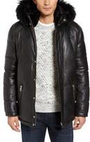 Men's M. Benisti Leather Down Jacket With Genuine Rabbit Fur Trim