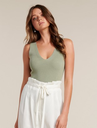 Forever New Aimee V-Neck Knitted Tank Top - Smoky Sage - m