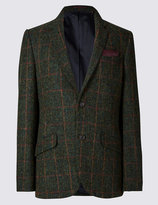 Marks And Spencer Pure Wool 2 Button Checked Jacket With Buttonsafetm