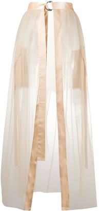 Loulou Sheer Front Slit Skirt