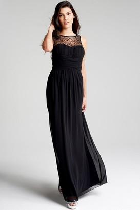 Little Mistress Black Embellished Neck Maxi Dress