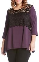 Karen Kane Plus Size Women's Lace Overlay Handkerchief Hem Top