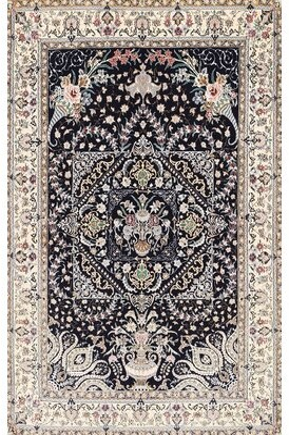 Bungalow Rose Oriental Wool Black/Beige Area Rug Rug Size: Rectangle 7' x 9'