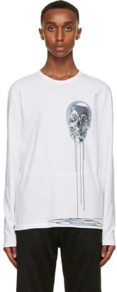Alexander McQueen White and Silver Skull Print Long Sleeve T-Shirt