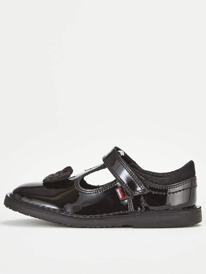 Girls Kickers Adlar Bar Brogue Junior Black Shoes