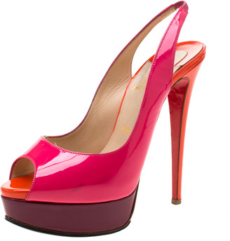 Christian Louboutin Multicolor Patent Leather Private Number Peep Toe Slingback Sandals Size 38