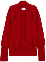 Maison Margiela Open-front Scarf-detailed Wool Sweater - Red