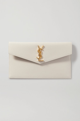 Saint Laurent Uptown Textured-leather Pouch - Off-white
