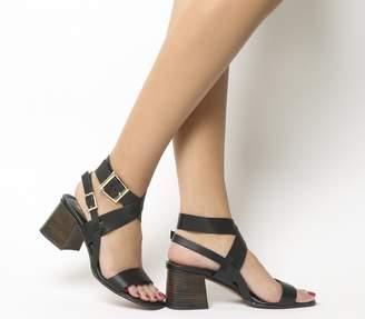 Office Marley Ankle Wrap Mid Block Heels Black Leather