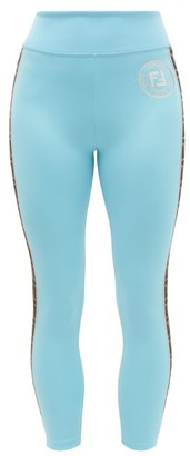 Fendi Ff-logo Stripe Athletic Leggings - Womens - Light Blue