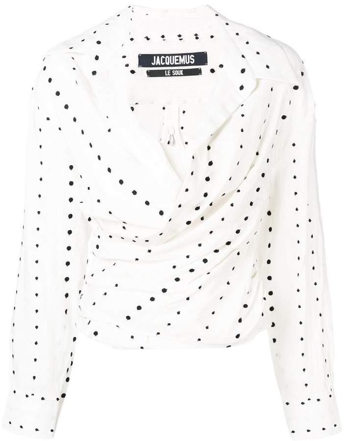 Jacquemus polka-dot ruched blouse