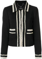 Twin-Set embroidered trim cropped jacket