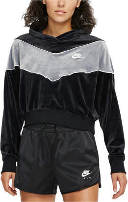 Nike Women Sportswear Heritage Colorblocked Velour Cropped Hoodie