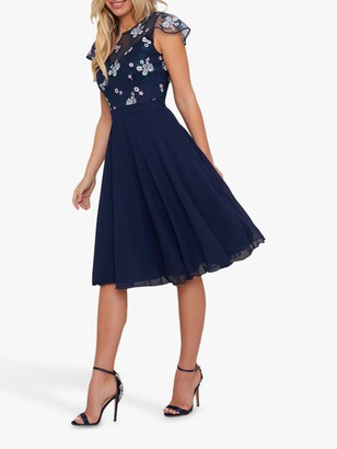 Chi Chi London Novah Floral Embroidered Dress, Navy