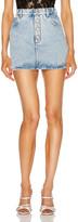 Alessandra Rich Denim Mini Crystal Button Skirt in Light Blue | FWRD