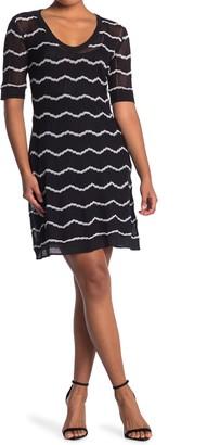 M Missoni U-Neck Scallop Print Midi Dress
