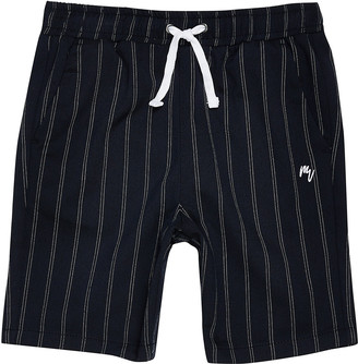 River Island Boys navy pinstripe shorts